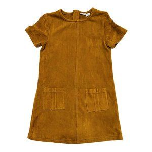 Deep Tan Faux Suede Short Sleeve Sheath Dress